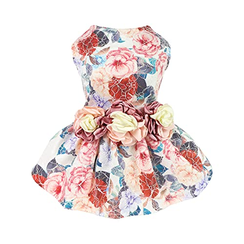Fitwarm Fancy Flower Dog Dresses Girl Dog Clothes Doggie Wedding Gown Pet Birthday Party Dress Puppy Lace Clothes Pink Small