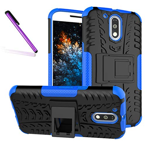 COTDINFORCA Case for Moto G4 / G4 Plus Tyre Pattern Design Heavy Duty Tough Protection Case with Kickstand Shock Absorbing Detachable 2 in 1 Case Cover for Motorola Moto G4 / G4 Plus. Hyun Blue