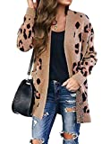 ZESICA Women's Long Sleeves Open Front Leopard Print Knitted Sweater Cardigan Coat Outwear with Pockets,L,A-Khaki