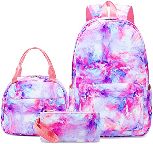 CAMTOP Girls Backpack for School, Girls Backpack with Lunch Box Kids BookBag Set for Elementary Middle School (878-3/Galaxy-Purple)