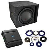 Universal Car Stereo Slotted S Port Single 10' Alpine Type R R-W10D4 Sub Box Enclosure with S-A60M Amplifier & 4GA Amp Kit