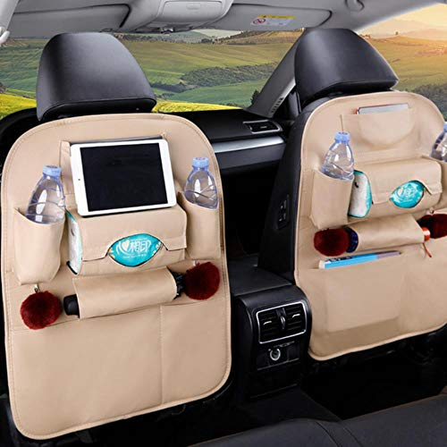 ZHANGYY 1PC PU Leather Car Seat Back Storage Hang Bag Multi-functional IPad Mini Holder Universal Back Seat Organizer for Kids Storage,beige 1