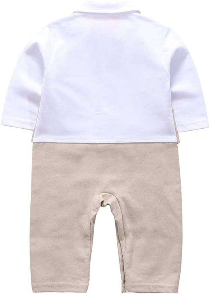 Baby Boy Gentleman Clothes Outfit, Long Sleeve One-Piece Rompers with Bow Tie