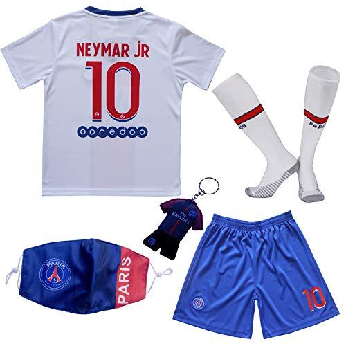 Necm 2020/2021 Paris Away Football Futbol Soccer Kids Jersey Shorts Socks Set Youth Sizes (Neymar White, 26 (8-9 Years))