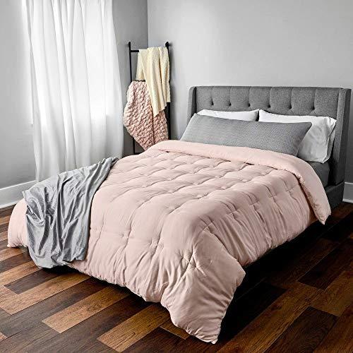 HNU 1 Piece Modern Sleek Design Comfy Comforter Set King, Beautiful Tack Quilt Pattern Solid Color Luxurious Pink Bedding, Light-Weight...
