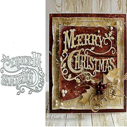 Merry Christmas Holly Leaves Metal Die cuts, Christmas Word Background Layering Cutting Dies Cuts for Album Card Making Tools Scrapbooking DIY Decoration