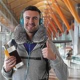 Dunlopillo 2 in 1 Reisekissen und Nackenhörnchen 31x21 cm - Nackenkissen für das Flugzeug & zum Reisen - Travel Pillow - Ergonomisches Kopfkissen mit Microperlen - 8