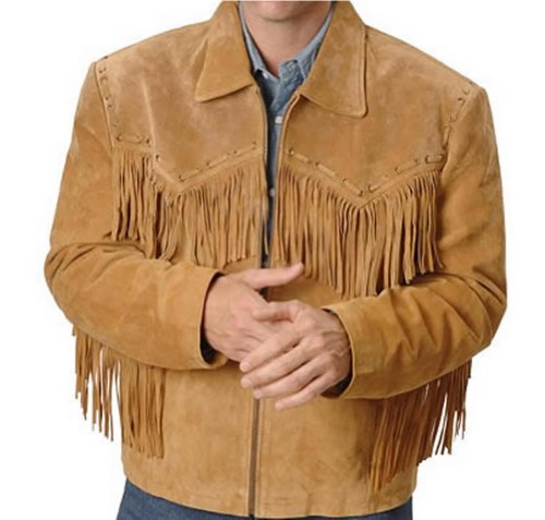 Classyak Western Leather Jacket Brown with Fringes Simple (M)