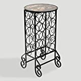 Southern Enterprises 15 Wine Bottle Storage Table - Glass Top w/Black Finish - Elegant Wrought Iron Scrollwork
