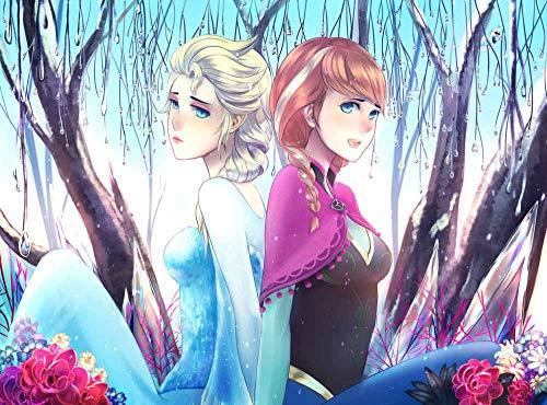 JUHAO 1000 Rompecabezas, Rompecabezas De Números-Frozen Elsa Y Anna Princesa Hermanas-Juegos De Entretenimiento En Interiores, Juguetes Educativos En 3D.