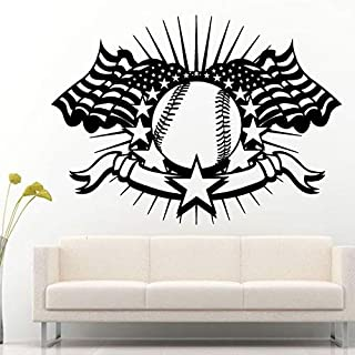 78x57cm,Wall Stickers for Bedroom Motivational,Wall Tattoo Art,Baseball American Flag Sport Logo for Sport Room Bathroom Birthday Mural Background Decal Refrigerator Home Living Room Stickers
