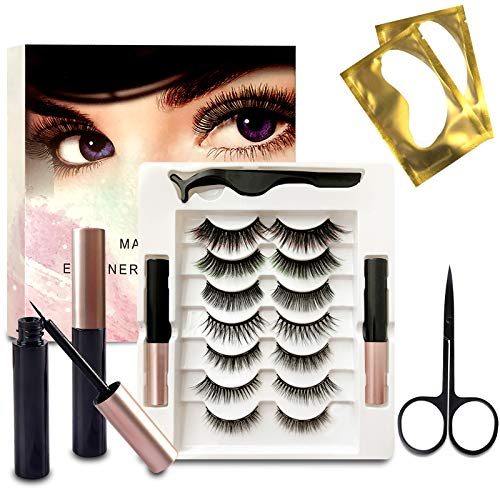 Faux Cils Magnétique Eyeliner Kit,7 Paires De Cils Magnétique,3D Naturel Faux Cils,Cils Magnétiques avec Eye-liner,Cils Magnétiques 3D Réutilisables et Pincettes, Imperméable et sans Colle Requise