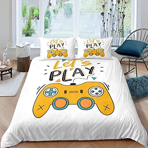 Svvsovs Cotton Bedding Set Queen King size 3d King size 240 x 220 cm Duvet Cover Bed sheet set Fitted sheet parure de lit + 2 Pillowcase 50 X 75 cm Golden game controller - Children's duvet s