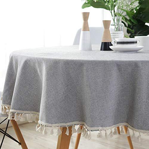 Lahome - Mantel redondo de algodón y lino con borla, color liso, decoración de mesa (gris, redondo, 152 cm)