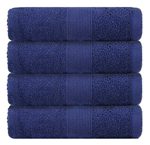 Packung mit 4 Handtüchern - 71x41 cm Extra große Handtücher Weiche Luxuriöse Handtuch Set für den Täglichen Gebrauch aus Baumwolle für Bad und Küche - Navy Blau