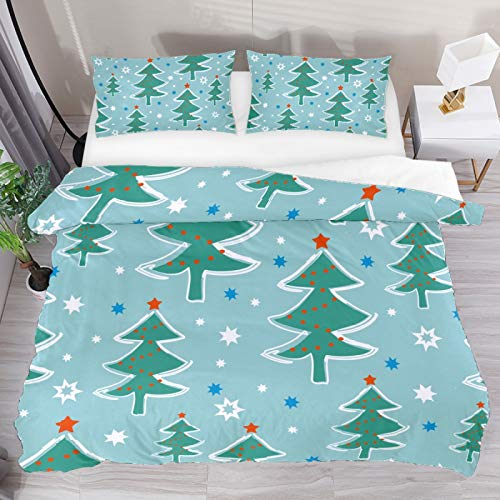 Christmas Tree Attern 3 Piece Duvet Cover Set King Size 102'x90' Soft Quilt Cover Decorative Bedding Sets 1 Duvet Cover 2 Pillowcase Polyester Bedspread