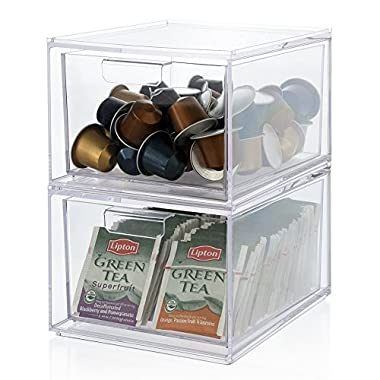 Stackable Clear Plastic Coffee Pod and Tea Bag Organizer Drawers | set of 2