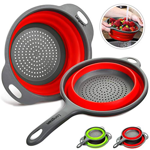 Longzon Collapsible Silicone Colanders and Strainers [2 Piece Set], Diameter Sizes 8'' - 2 Quart and 9.5' - 3 Quart, Pasta Vegetable/Fruit Kitchen Mesh Strainers with Extendable Handles Red and Grey