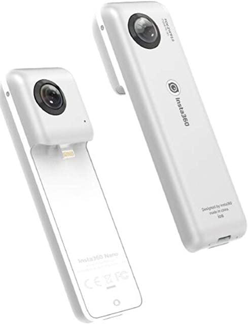Insta360 Nano S - Videocámara 3D VR Compacta Cámara HD 4K 360° Foto de 20 Megapíxeles Compatible con iPhone X/8/7/6 Series Estabilización Integrada Micrófono Integrado con Lightning - Plateado