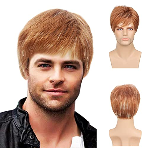 Baruisi Mens Wig Short Light Brown Costume Hair Replacement Synthetic Cospaly Halloween Hair Wigs