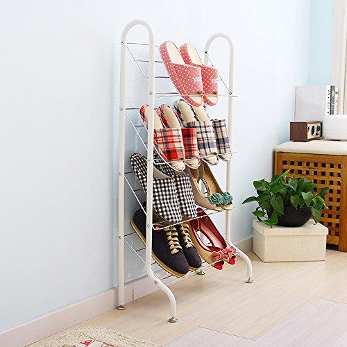 LJHA Le support blanc créatif de chaussure de Floorstanding / multi-couche de salle de bains anti-corrosif dépose le support de stockage / grande capacité de pantoufles d'espace de support Meubles à chaussures