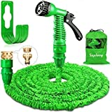 Suplong Garden Hose Expandable Water Pipe 3 Times Expanding 100ft Flexible Magic Hose Pipes Reel With 7 Function Spray/Brass Connector Fittings/Hose Hanger/Storage Bag (Green)