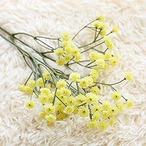 Silk Flower Arrangements XIDA 90 Heads 65cm Artificial Flowers False Baby's Breath Gypsophila Wedding Decoration Birthday DIY Photo Props Flower Heads Branch (Yellow)