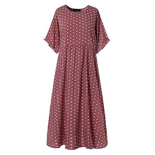 Vestidos de Verano para Mujer Vestido de Manga Corta con Cuello en O de Manga Corta con Estampado de Punto Vestido Suelto