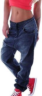 hibasing Pantalones Boyfriend de Mezclilla con Cintura elástica Estilo Jeans para Mujer Talla Grande Harlan