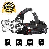 Fortunam Stirnlampe LED Superheller, Kopflampe 5 LED 4 Modi Wasserdicht, Stirnleuchte Kopfleuchte...