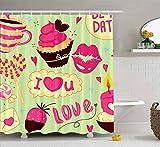 N\A Duschvorhang, niedlicher Duschvorhang Baby Februar Valentinstag Liebe Gekritzel Cupcake Herzen Süßigkeiten Kerze im Badezimmer Set mit Haken Bad Duschvorhang Duschvorhang für Frauen