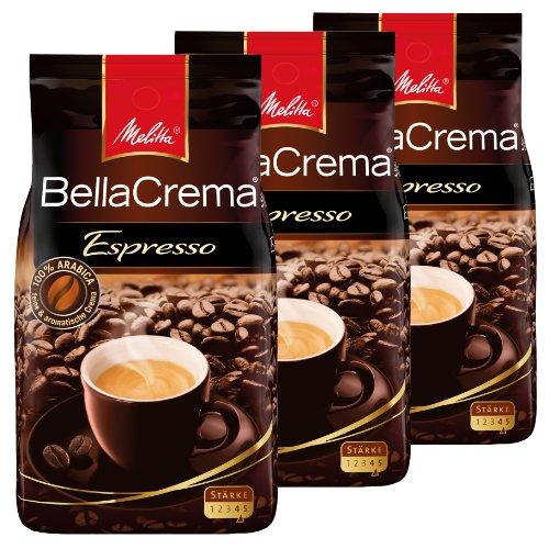Melitta Kaffee BellaCrema Espresso ganze Bohne, kräftige Kaffeebohnen, 3er Pack, 3 x 1000g