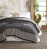 Nefes Tagesdecke Überwurf Decke - Wohndecke hochwertig - perfekt für Bett & Sofa, 100prozent Baumwolle - handgefertigte Fransen, 200x250cm (Beige)