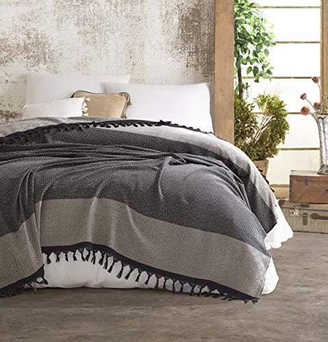 Nefes Tagesdecke Überwurf Decke - Wohndecke hochwertig - ideal für Bett und Sofa, 100% Baumwolle - handgefertigte Fransen, 200x250cm (Beige)