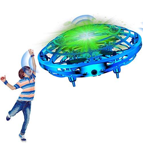 Qicool Mini dron UFO para niños, juguete volador teledirigido con luces sensores, juguete interactivo, cargador USB recargable para niños y niñas