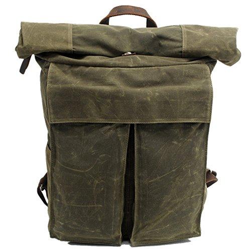 DRF Canvas Backpack Rolltop Rucksack Hiking Waterproof BG243 (Green)