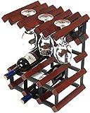 Estante del vino de madera maciza de aerosol de pintura abrillantada estante del vino Decoración gabinete del vino cáliz Europea colgador estante estante del vino vino 32.5x23.5x41.5cm (颜色 Color: A) W