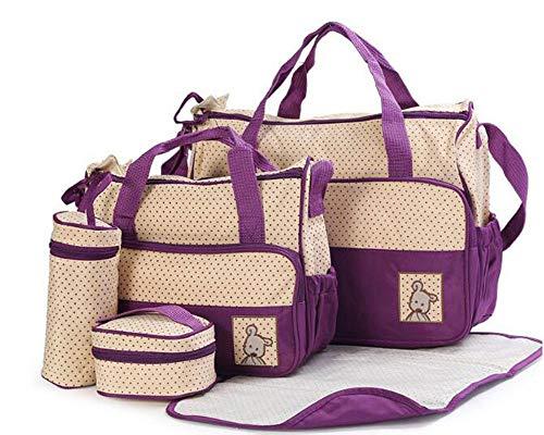 Etyybb Juego de 5 piezas Bolsa cambiadora de pañales multifuncional, bolsa de pañales impermeable con gran capacidad para viajes de mamá - morado_L