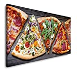 Paul Sinus Art Pizza Stücke 120x 60cm Panorama Leinwand
