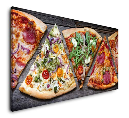 Paul Sinus Art Pizza Stücke 120x 60cm Panorama Leinwand Bild XXL Format Wandbilder Wohnzimmer Wohnung Deko Kunstdrucke