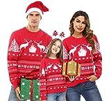 Aibrou Suéter de Navidad, Jersey Navideño Familia Pullover de Punto con Cuello Redondo para Mujer Hombre Niños, Jersey Casual Unisex de Manga Larga Invierno Sweaters para Navidad