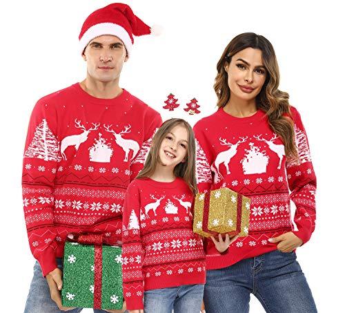 Aibrou Suéter de Navidad, Jersey Navideño Familia Pullover de Punto con Cuello...