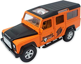 CLEVER BOYS Land Rover Defender 1:32 Scale Diecast Vehicle Model Cars Pull Back Car Sound Light Gifts Collection for Kids Adults. (Orange)