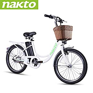 NAKTO 22″ Electric Bike 250W Electric Bicycle Sporting Mountain Bike with 36V 10Ah Lithium Battery