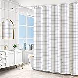 Duschvorhang, Anti-Schimmel Wasserdichter Duschvorhang 180x200 cm Waschbar Antibakteriell Duschvorhang Badewanne Vorhang mit 12 Duschvorhängeringen (Weiß)