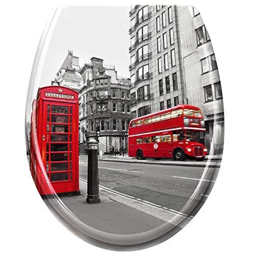 UISEBRT WC Sitz mit Absenkautomatik - WC Klodeckel Toilettensitz mit langsamer Absenkung - Verschiedene Muster zur Auswahl (London)