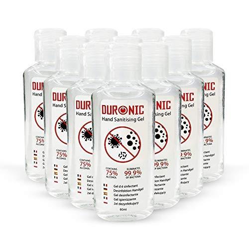Duronic - 20 gel desinfectantes de manos | bote de 60 ml – Formato de bolsillo - 75% de alcohol - Mata hasta el 99,9% de las bacterias – Gel antibacterias de secado rápido sin olor