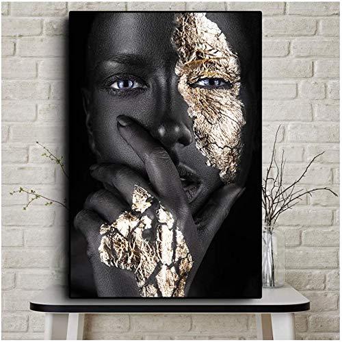 Refosian Print auf Leinwand Afrikanische Kunst Schwarz und Gold Frau Ölgemälde auf Leinwand Poster und Drucke Skandinavische Wandkunst Bild für Wohnzimmer 60x80cmx1pcs No Frame