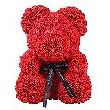 Qivange - Oso de rosa artificial para regalar en San Valentín, aniversario, boda, cumpleaños, día de la madre, aniversarios (25 cm), Rojo, 25 cm