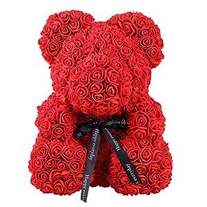 Qivange – Oso de rosa artificial con diseño de oso de peluche, rosa para siempre, flor falsa, regalo para San Valentín…